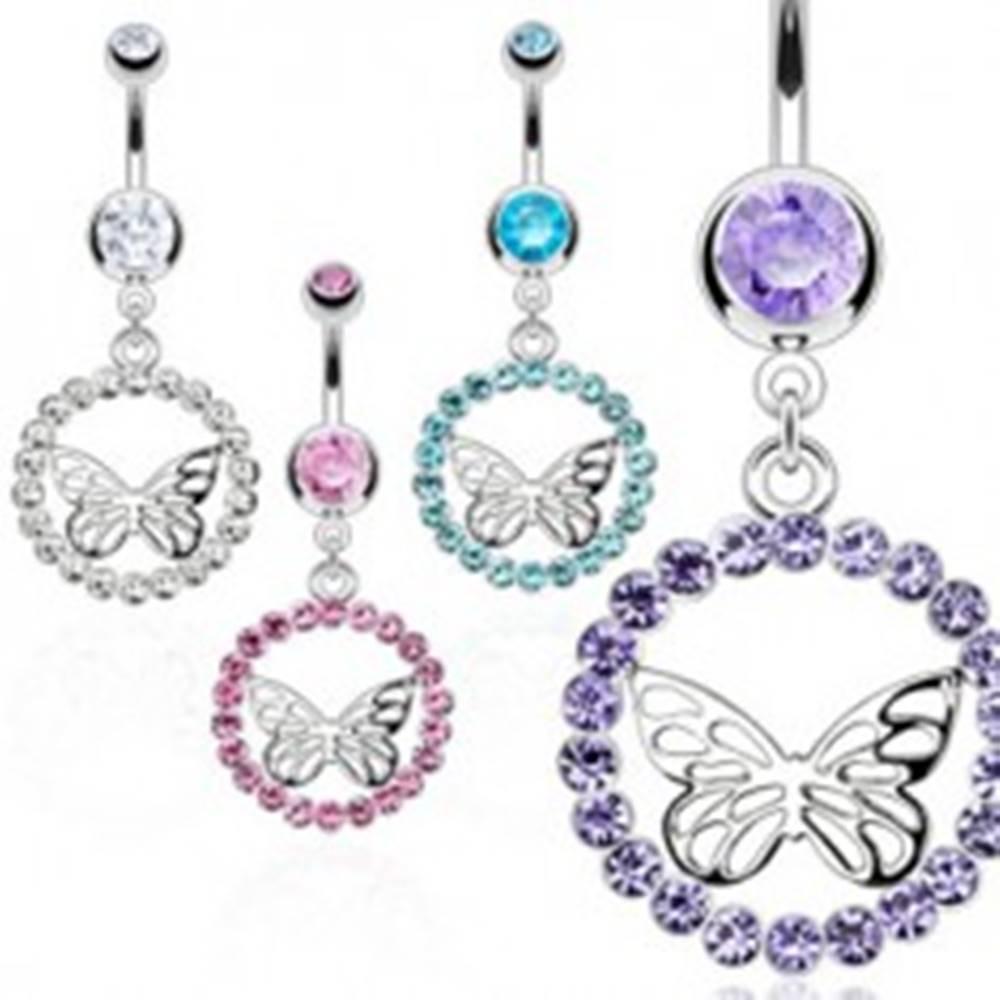 Šperky eshop Piercing do bruška z chirurgickej ocele - zirkónová obruč, motýľ striebornej farby - Farba zirkónu: Aqua modrá - Q