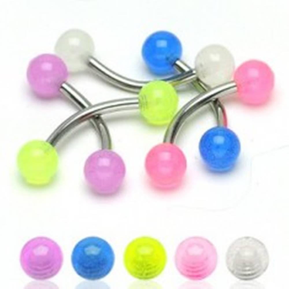 Šperky eshop Piercing do obočia - priesvitné guličky 4mm - Farba piercing: Biela