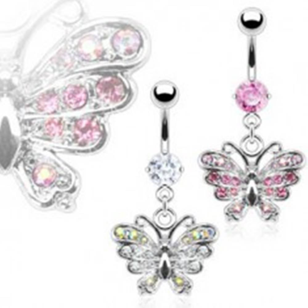 Šperky eshop Piercing do pupka zirkónový motýľ - Farba zirkónu: Číra - C