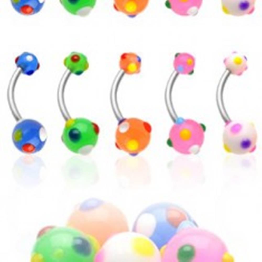 Šperky eshop Piercing do pupku viacfarebné bodky - Farba piercing: Biela