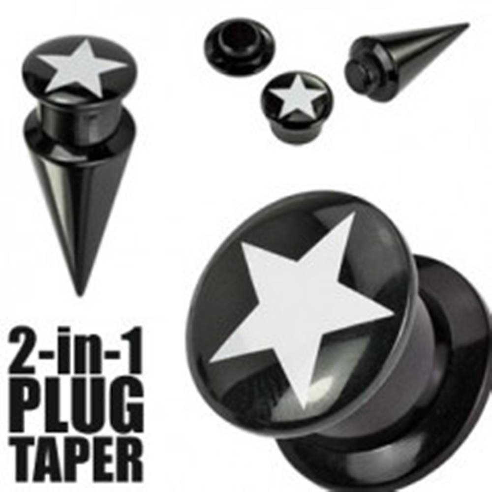 Šperky eshop Plug a taper čierny  STAR - Hrúbka: 10 mm