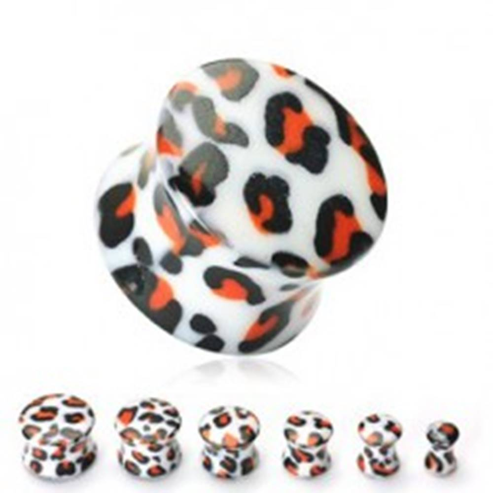 Šperky eshop Plug do ucha biely, vzor leopard - Hrúbka: 10 mm