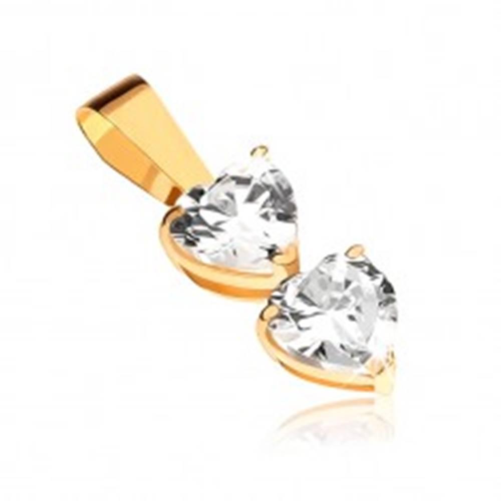 Šperky eshop Prívesok v žltom 9K zlate - dve číre zirkónové srdcia v kotlíkoch