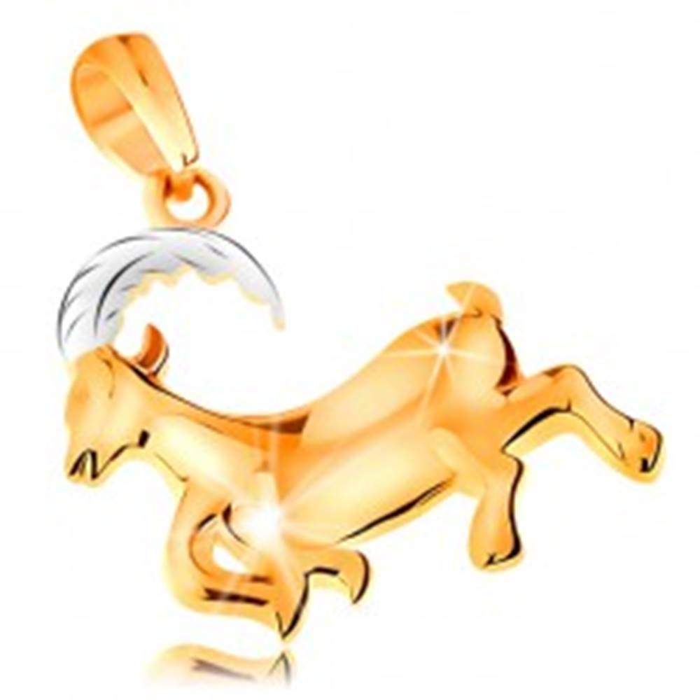 Šperky eshop Prívesok zo 14K zlata - lesklý dvojfarebný symbol zverokruhu - KOZOROŽEC