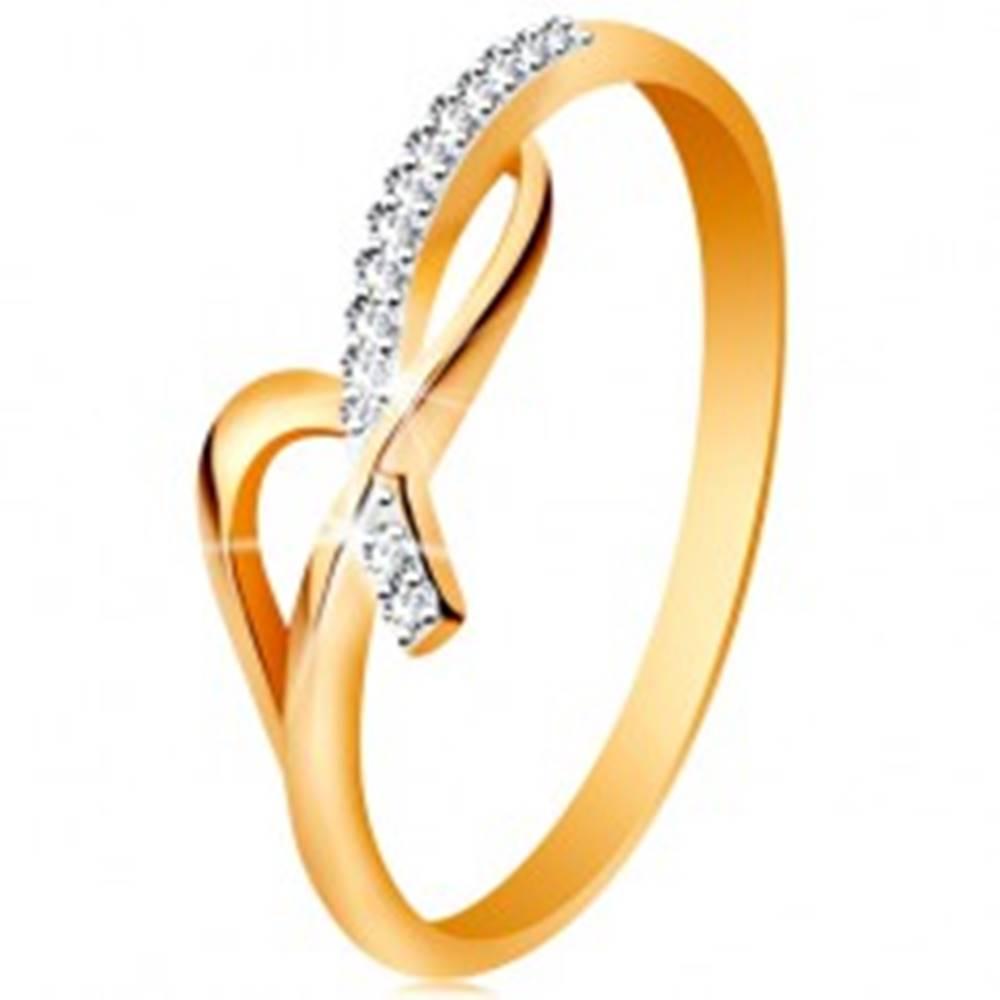 Šperky eshop Prsteň v 14K zlate - asymetricky prepletené ramená, okrúhle číre zirkóny - Veľkosť: 49 mm