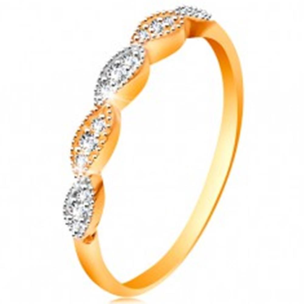 Šperky eshop Prsteň v 14K zlate - dvojfarebné zrnká so vsadenými zirkónikmi, lesklé ramená - Veľkosť: 49 mm