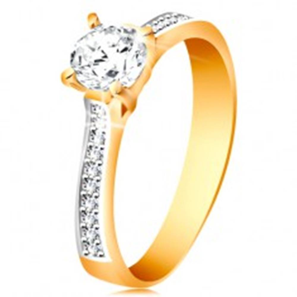 Šperky eshop Prsteň zo 14K zlata - ligotavý okrúhly zirkón čírej farby, zirkónové ramená - Veľkosť: 48 mm