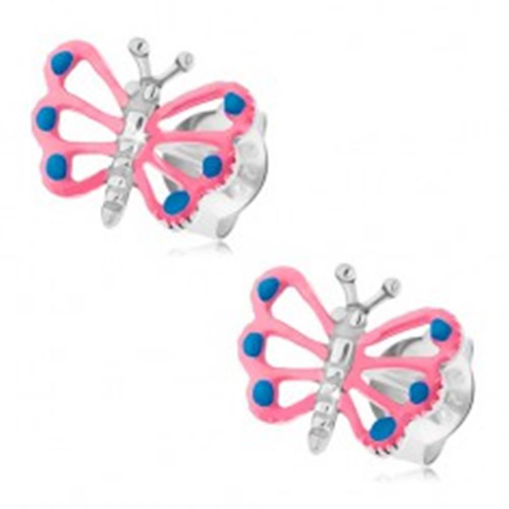 Šperky eshop Puzetové náušnice, striebro 925, motýlik s ružovými krídlami, výrezy