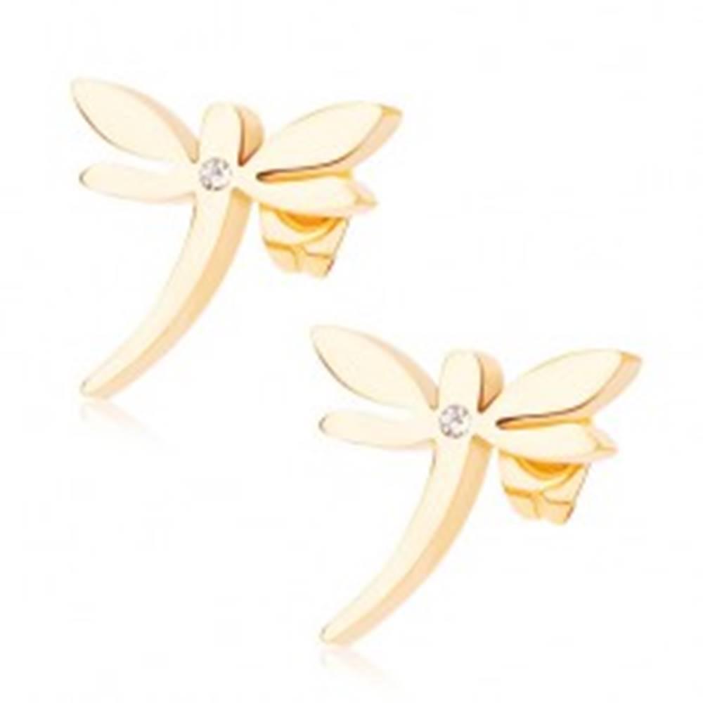 Šperky eshop Puzetové náušnice z chirurgickej ocele, zlatý odtieň, vážka, číry zirkónik