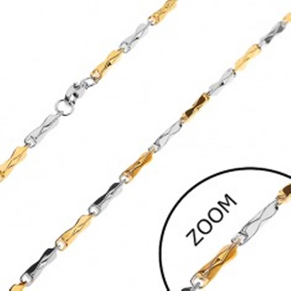 Šperky eshop Retiazka z chirurgickej ocele, dvojfarebné hranoly so zúženým stredom, 3 mm