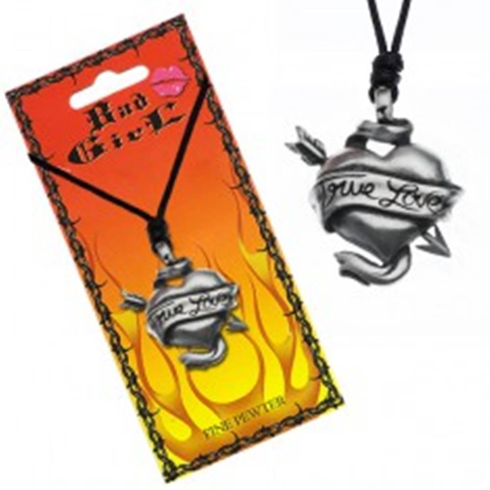 Šperky eshop Šnúrkový náhrdelník - prestrelené srdce, stuha, TRUE LOVE
