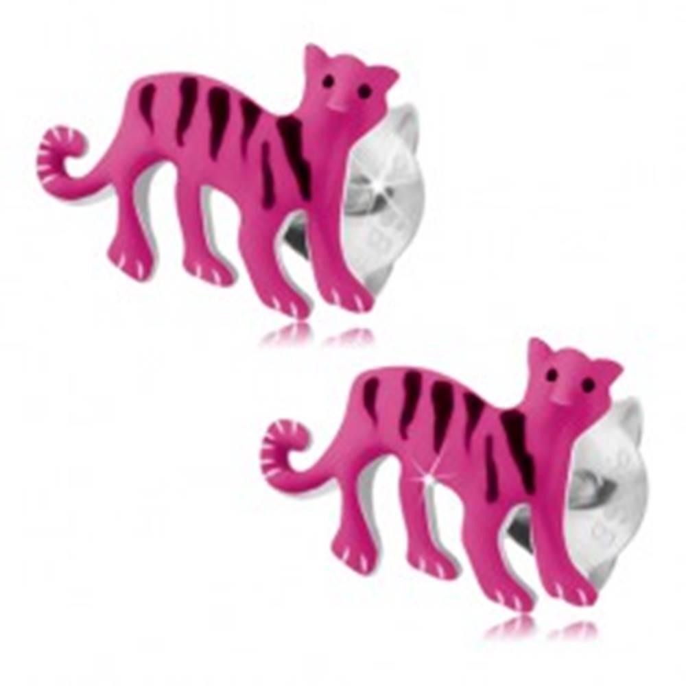 Šperky eshop Strieborné 925 náušnice, ružový tiger s čiernymi prúžkami, puzetky