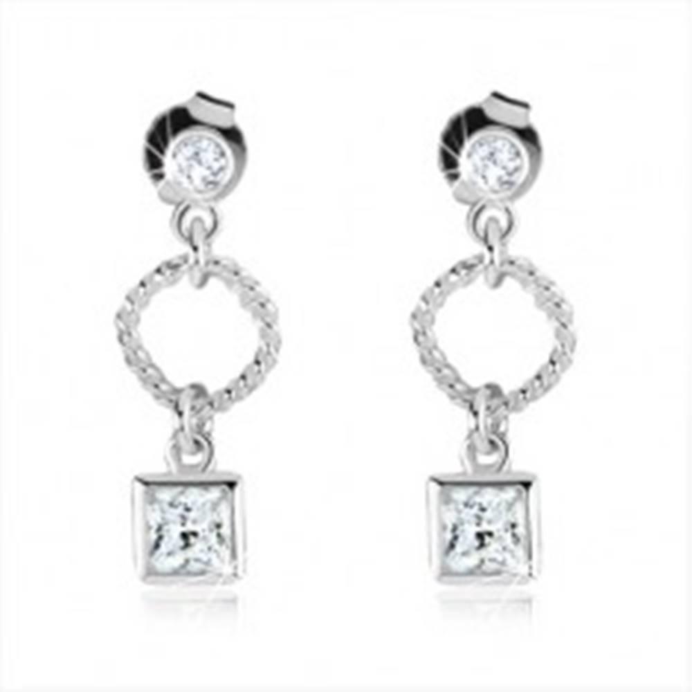 Šperky eshop Strieborné náušnice 925, obrys kosoštvorca, číry zirkónový štvorec