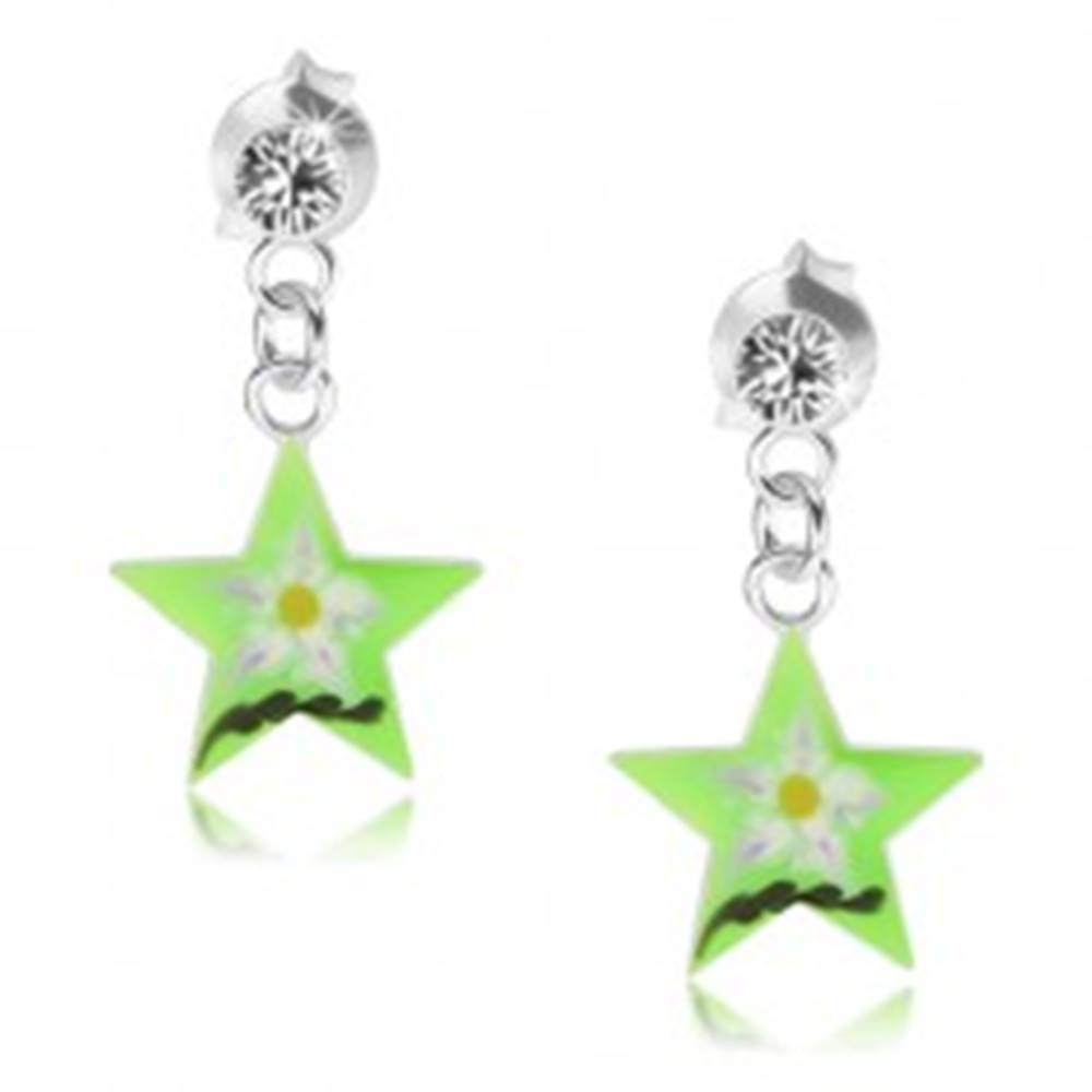 Šperky eshop Strieborné náušnice 925, zelená hviezda s kvetom, číry Swarovski krištáľ