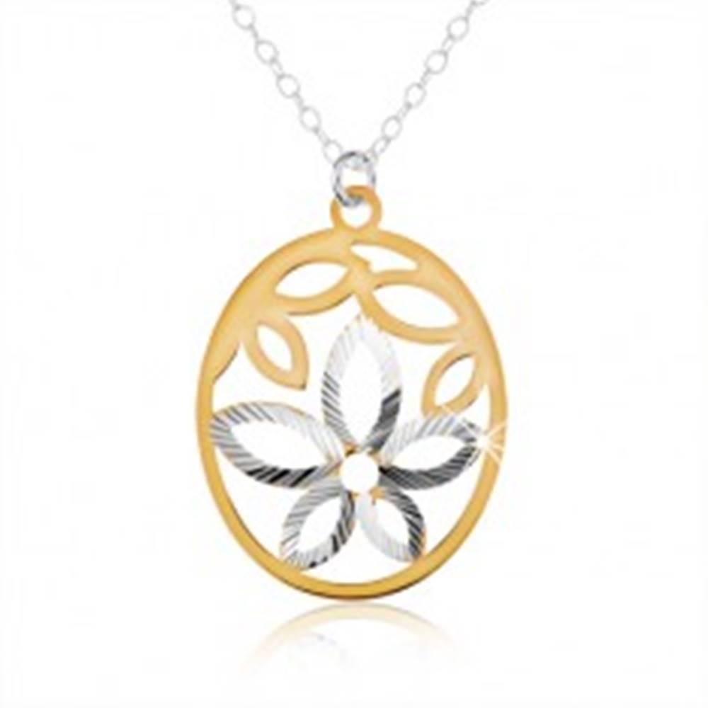 Šperky eshop Strieborný náhrdelník 925, oválny prívesok, výrez kvetu, lupene zlatej farby