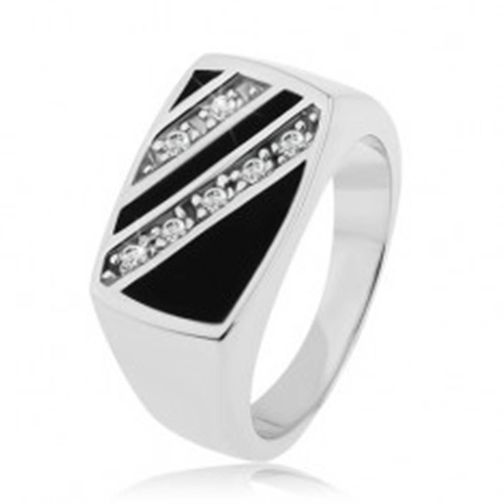 Šperky eshop Strieborný prsteň 925, obdĺžnik - šikmé línie čírych zirkónov, čierna glazúra - Veľkosť: 53 mm