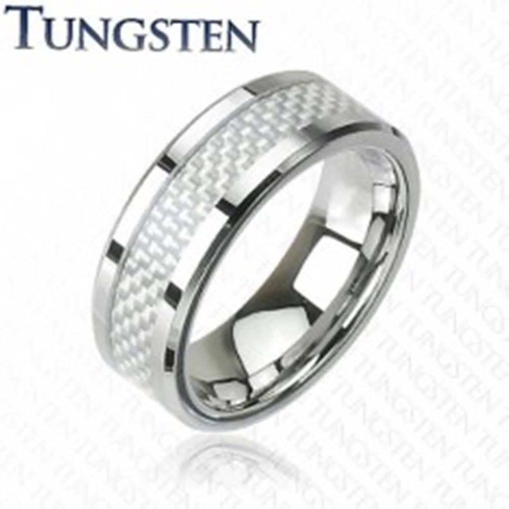 Šperky eshop Wolfrámový prsteň - vzor vlákno - Veľkosť: 49 mm