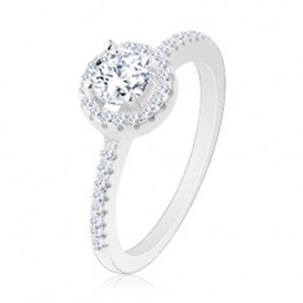 Šperky eshop Zásnubný prsteň, striebro 925, okrúhly číry zirkón s ligotavou kontúrou - Veľkosť: 48 mm