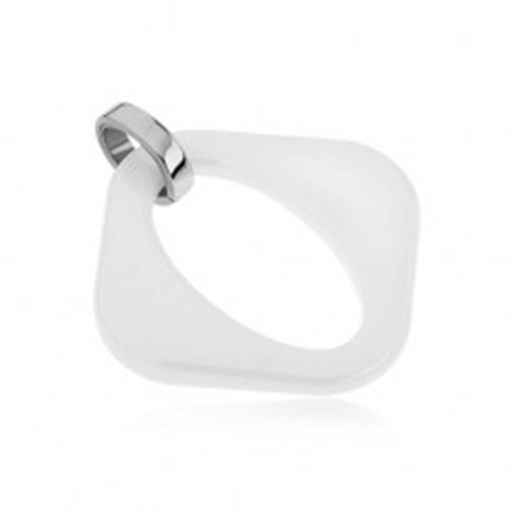 Šperky eshop Biely keramický prívesok - kosoštvorec s oválnym výrezom