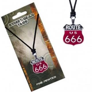 Čierno-červený náhrdelník na šnúrke, značka Route 666