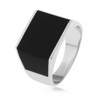 Lesklý prsteň zo striebra 925, obdĺžnik a lichobežníky s čiernou glazúrou  - Veľkosť: 54 mm
