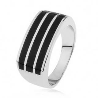 Lesklý strieborný prsteň 925, tri vodorovné pásy s čiernou glazúrou - Veľkosť: 54 mm