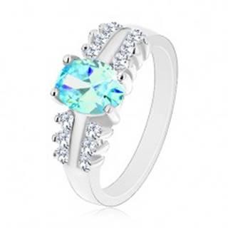 Ligotavý prsteň z ocele, číre zirkónové línie, oválny farebný zirkón - Veľkosť: 48 mm, Farba: Oranžová
