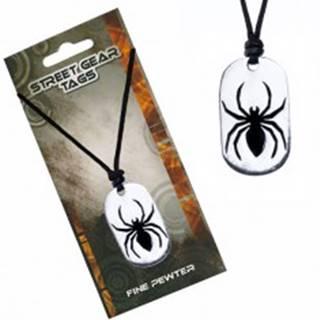 Náhrdelník na šnúrke, kovový prívesok pavúka