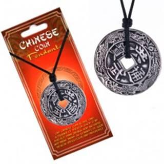 Náhrdelník so šnúrkou, čínska minca, ornamenty a znaky