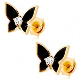 Náušnice v žltom 14K zlate - malý motýlik pokrytý čiernou glazúrou, číry zirkón