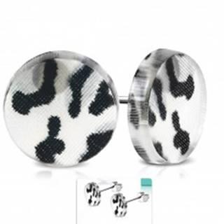 Náušnice z chirurgickej ocele, kruh z akrylu so sivo-čiernym leopardím vzorom