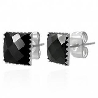 Náušnice z ocele 316L - čierny brúsený zirkónový štvorec, 9 mm