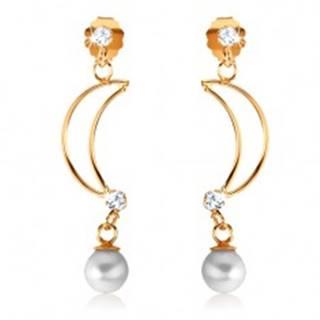Náušnice zo žltého 9K zlata - tenká kontúra polmesiaca, číre zirkóny, perla