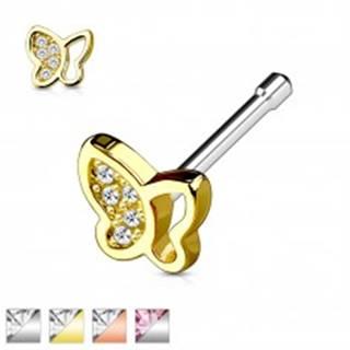 Oceľový piercing do nosa, motýlik so vsadenými trblietavými zirkónikmi - Farba piercing: Medená - číra
