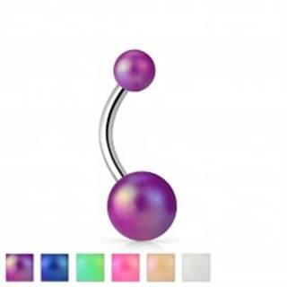 Piercing do bruška striebornej farby, oceľ 316L, farebné perleťové guličky - Farba piercing: Biela