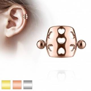 Piercing do ucha z ocele 316L - činka s guličkami, oblúk s výrezmi sŕdc - Farba piercing: Medená