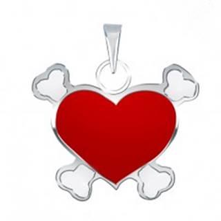 Prívesok zo striebra 925 s červeným pirátskym srdcom