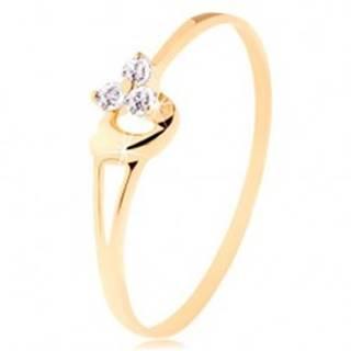 Prsteň zo žltého 14K zlata - tri diamanty v jemnom ružovom odtieni, srdiečko - Veľkosť: 49 mm
