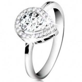 Ródiovaný prsteň, striebro 925, číra zirkónová slza v žiarivej kontúre - Veľkosť: 48 mm
