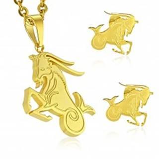 Set z chirurgickej ocele zlatej farby, prívesok a náušnice, znamenie KOZOROŽEC
