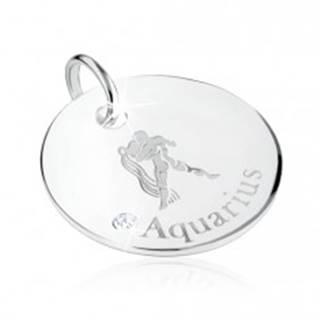 Strieborný 925 prívesok - znamenie zverokruhu VODNÁR, číry zirkón