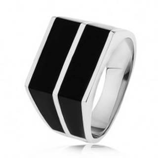 Strieborný 925 prsteň - dve vodorovné línie čiernej farby, hladký povrch - Veľkosť: 54 mm
