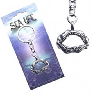 Striebristý prívesok na kľúče, otvorená žraločia čeľusť