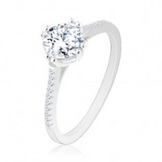 Zásnubný prsteň zo striebra 925, úzke trblietavé ramená, okrúhly zirkón - Veľkosť: 49 mm