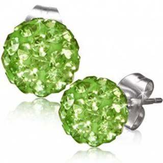 Zelené puzetové náušnice, gulička s kamienkami