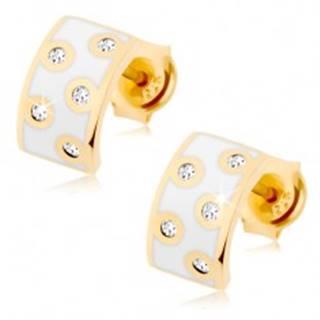Zlaté náušnice 585 - polkruh s bielou glazúrou, číre zirkóniky v lesklom obryse