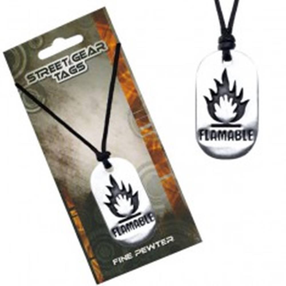 Šperky eshop Čierny náhrdelník, kovová lesklá známka, symbol horľaviny
