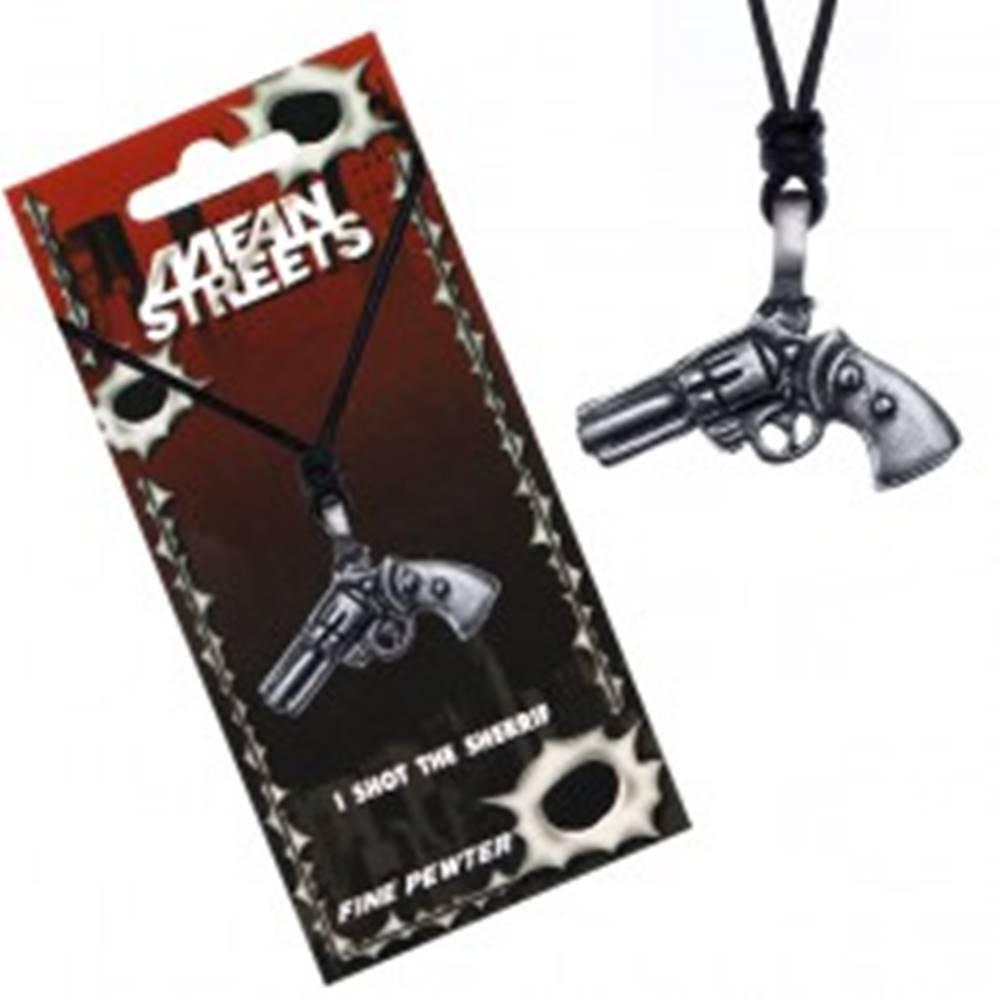 Šperky eshop Čierny náhrdelník na šnúrke – prívesok, revolver