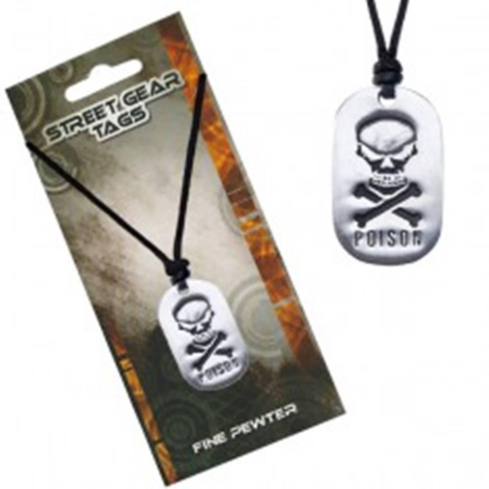 Šperky eshop Čierny šnúrkový náhrdelník s príveskom lebky a nápisom
