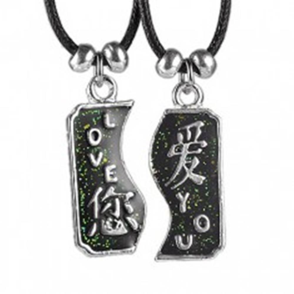 Šperky eshop Dvojdielny náhrdelník LOVE YOU s čínskymi znakmi